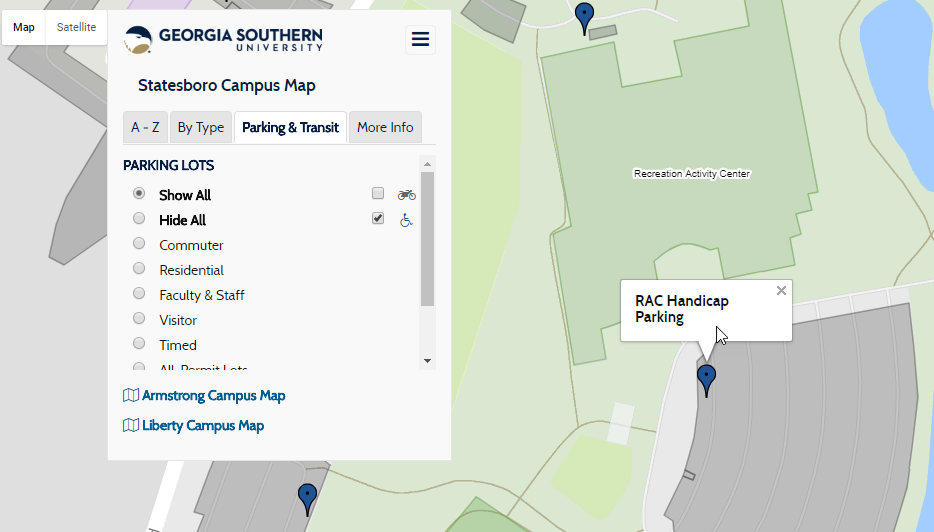 Screenshot of the map's parking detail view