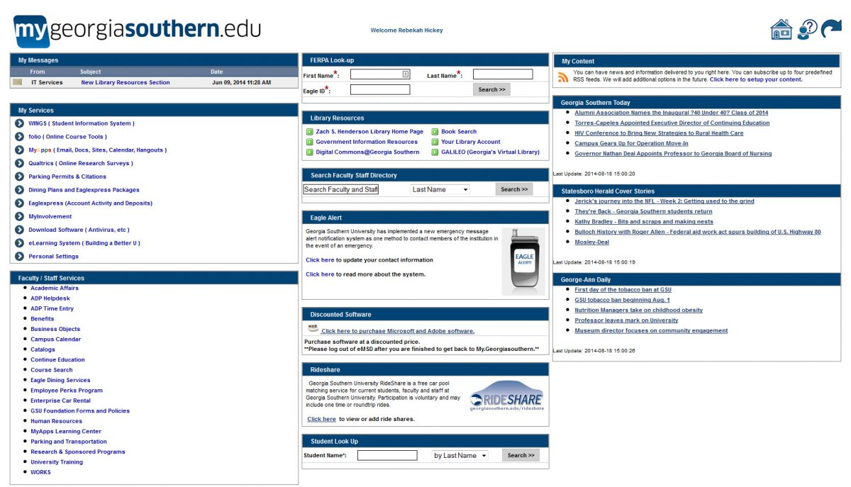 Screenshot of the portal before the redesign project